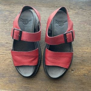 Dr. Martens Romi Red Leather Strap Flat Sandals 5
